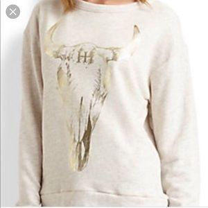 Haute hippie sweatshirt with gold bull design